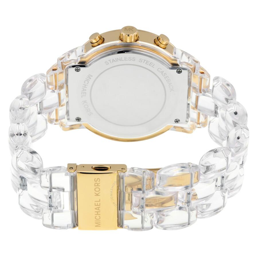 8f2c8c310e72 ... Michael Kors Audrina Gold-tone Case Clear Acetate Bracelet Chronograph  Ladies Watch MK6200