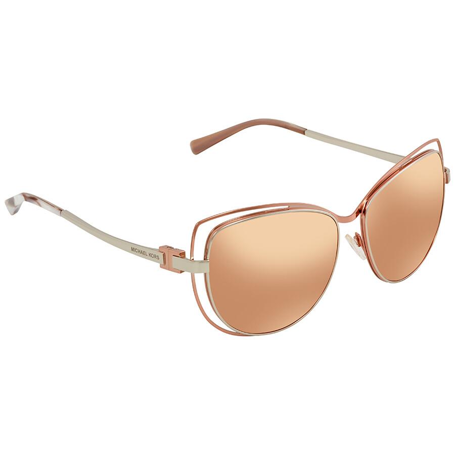 92fa10a12f4 Michael Kors Audrina Rose Gold Flash Cat Eye Ladies Sunglasses MK1013-1121R1-58  ...