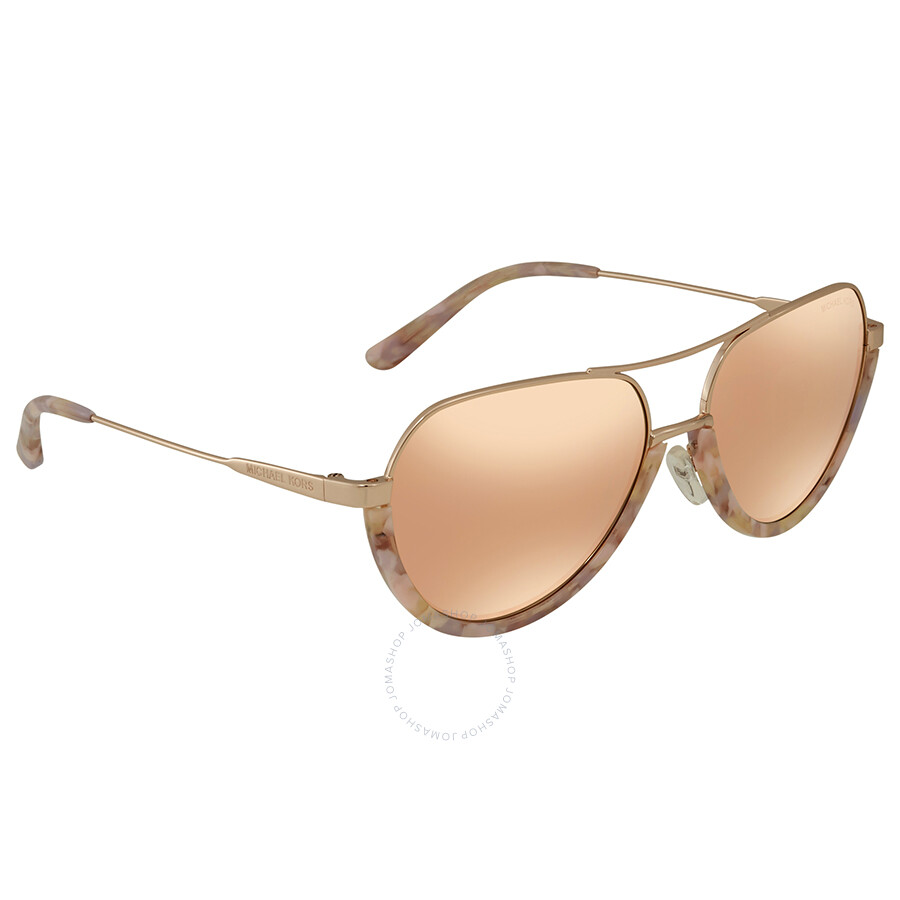 3e5ce59f8655 Michael Kors Austin Liquid Rose Gold Mirror New Aviator Ladies Sunglasses  MK1031 10275A 58 ...