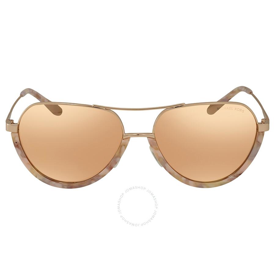f6c974cdfdfa ... Michael Kors Austin Liquid Rose Gold Mirror New Aviator Ladies  Sunglasses MK1031 10275A 58 ...