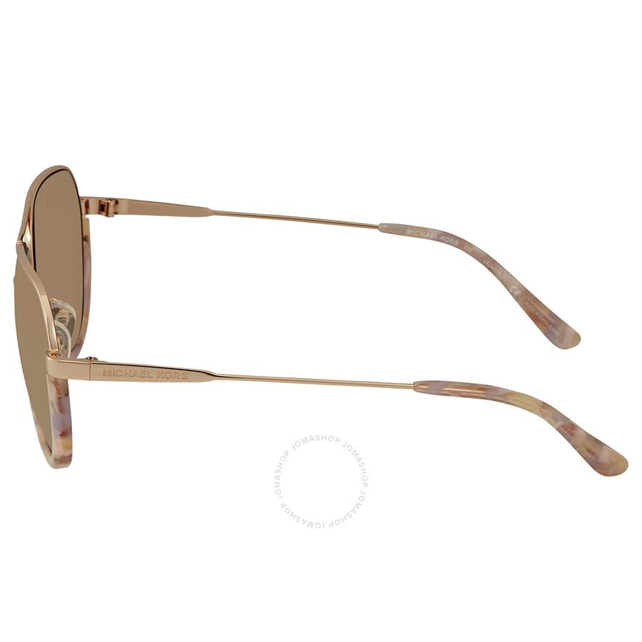 61d19f0e0b45 ... Michael Kors Austin Liquid Rose Gold Mirror New Aviator Ladies  Sunglasses MK1031 10275A 58
