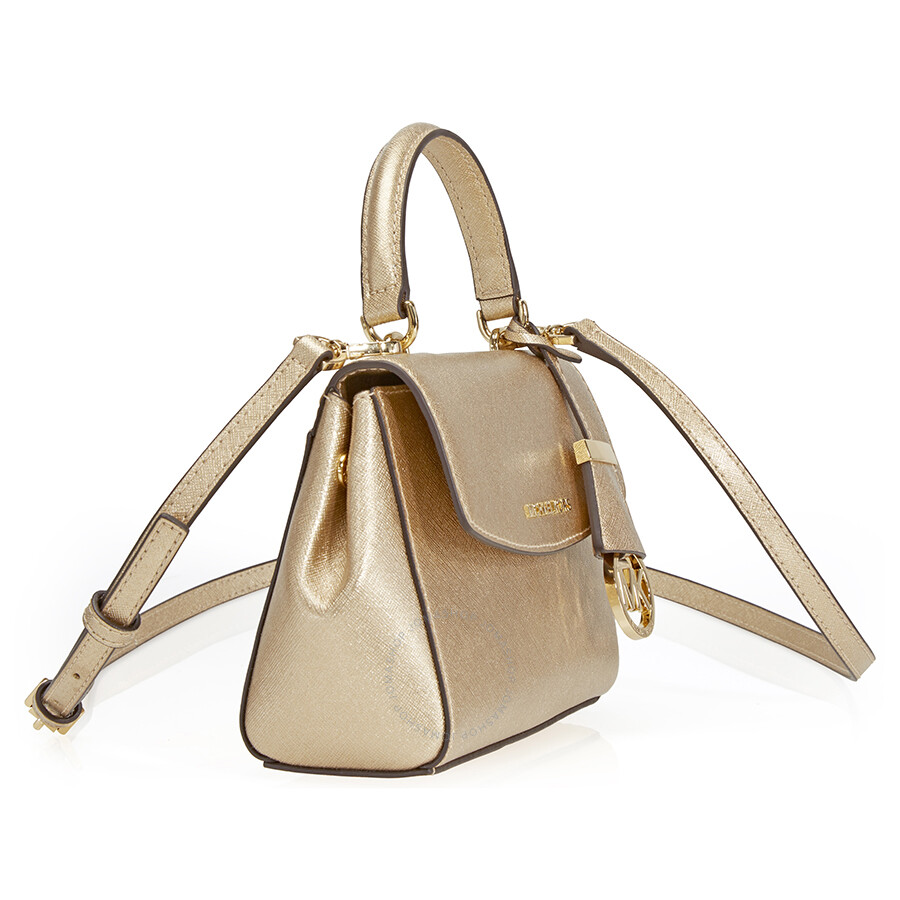 f0a9af6be9de ... Michael Kors Ava Extra Smal Saffiano Leather Crossbody - Pale Gold ...