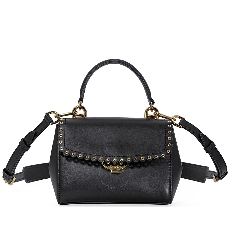 69a48be47943 Michael Kors Ava Extra-Small Scalloped Leather Crossbody- Black Item No.  32T8GF5M1I-001