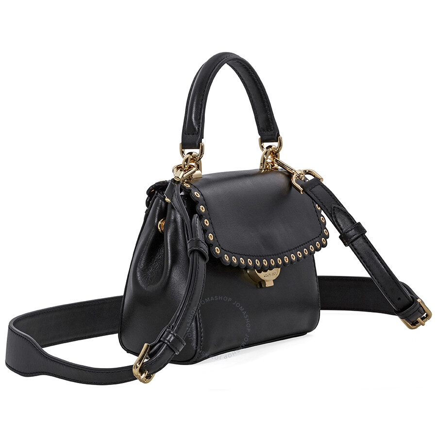 663b968fe8e4 Michael Kors Ava Extra-Small Scalloped Leather Crossbody- Black ...