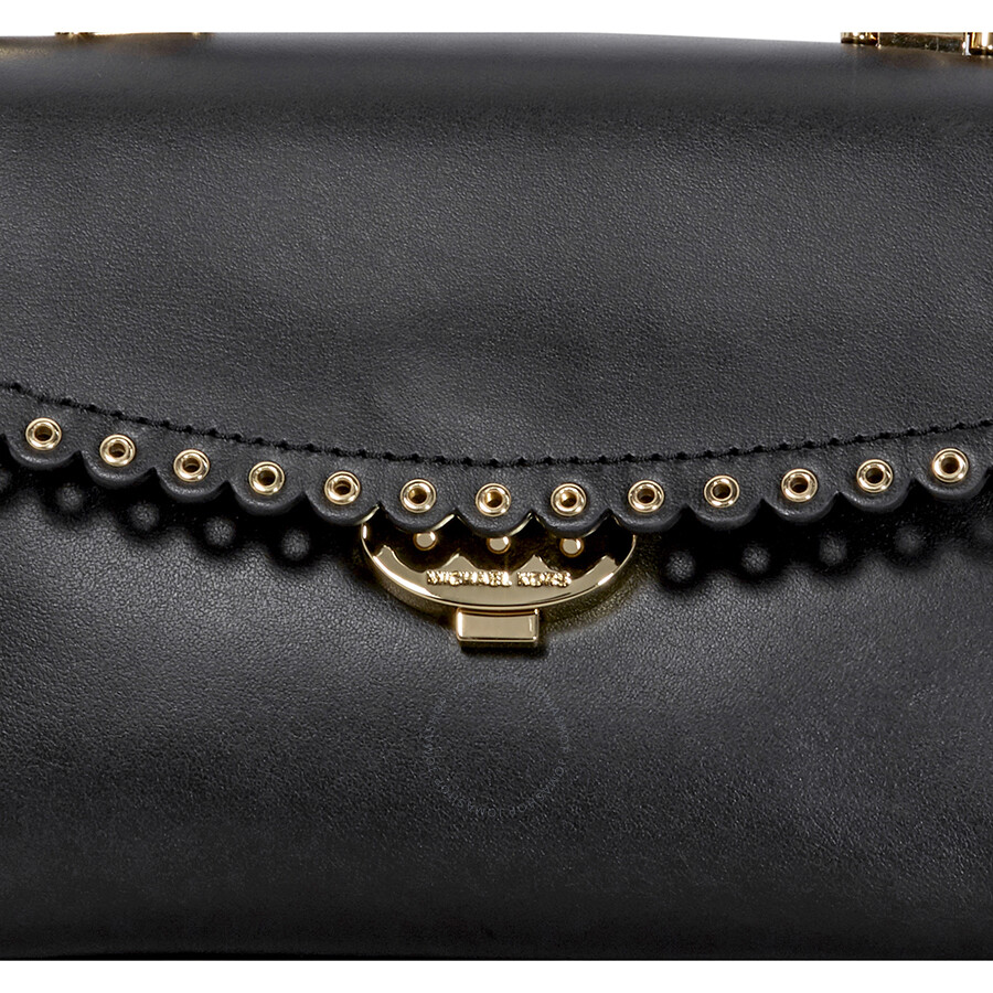 bbc3253bbc53 Michael Kors Ava Extra-Small Scalloped Leather Crossbody- Black ...