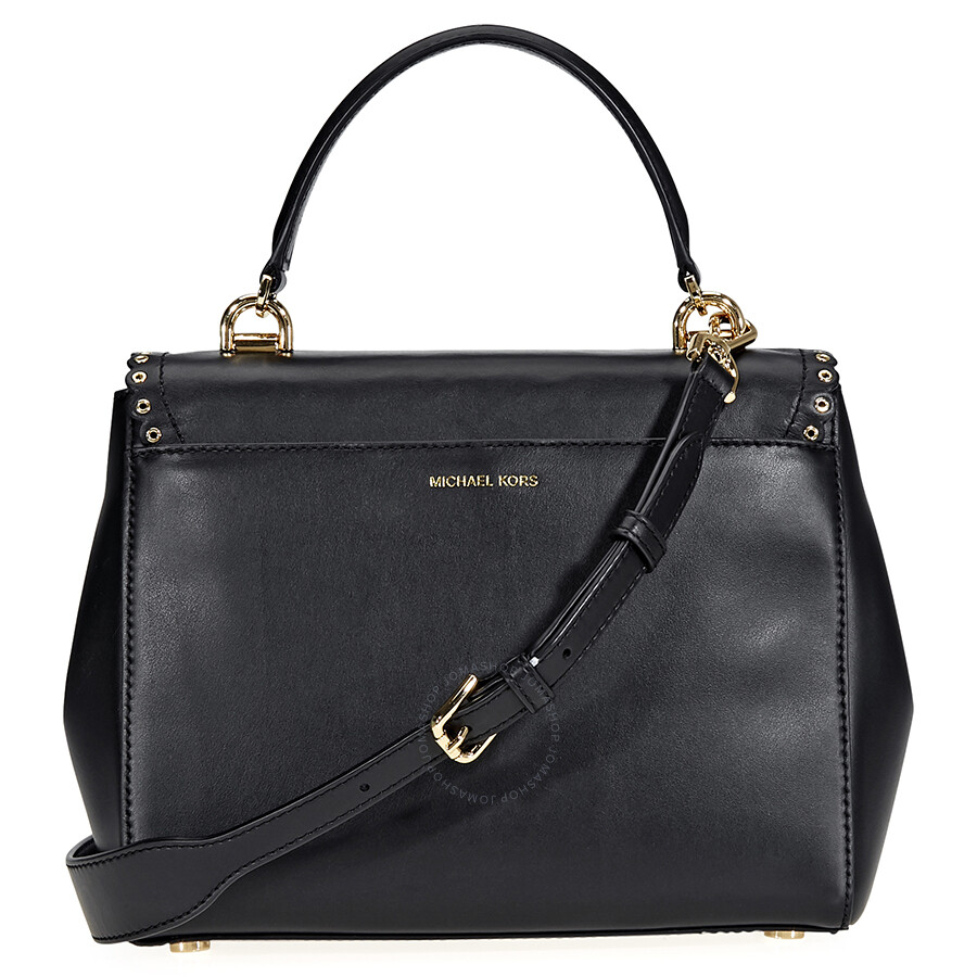 Michael Kors Ava Medium Scalloped Leather Satchel Black