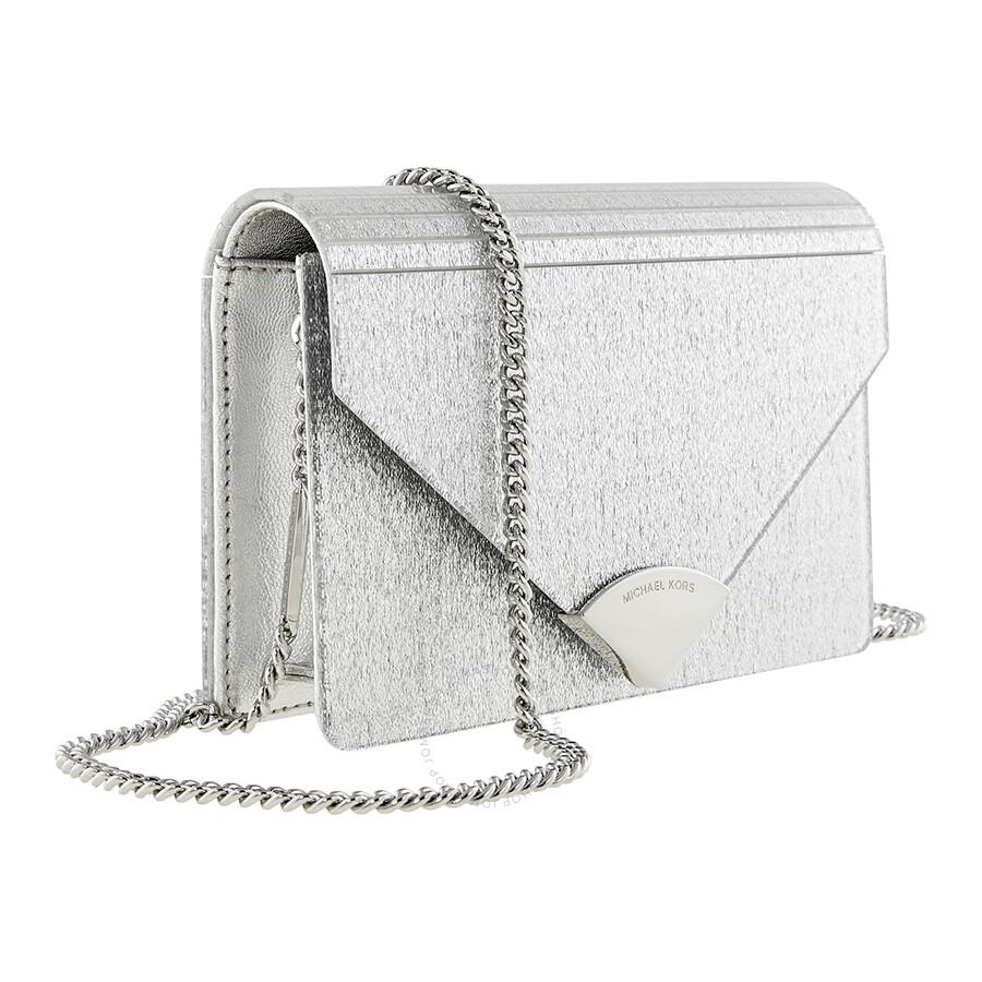 a58c97f995c9 Michael Kors Barbara Metallic Envelope Clutch - Silver - Michael ...