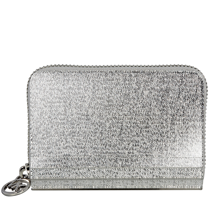 abfee728b4bf Michael Kors Barbara Zip Around Metallic Coin Case- Silver Item No.  32H8MB8Z1U-040
