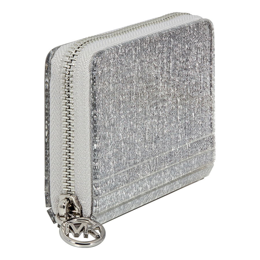 ce9c627602bd Michael Kors Barbara Zip Around Metallic Coin Case- Silver - Michael ...