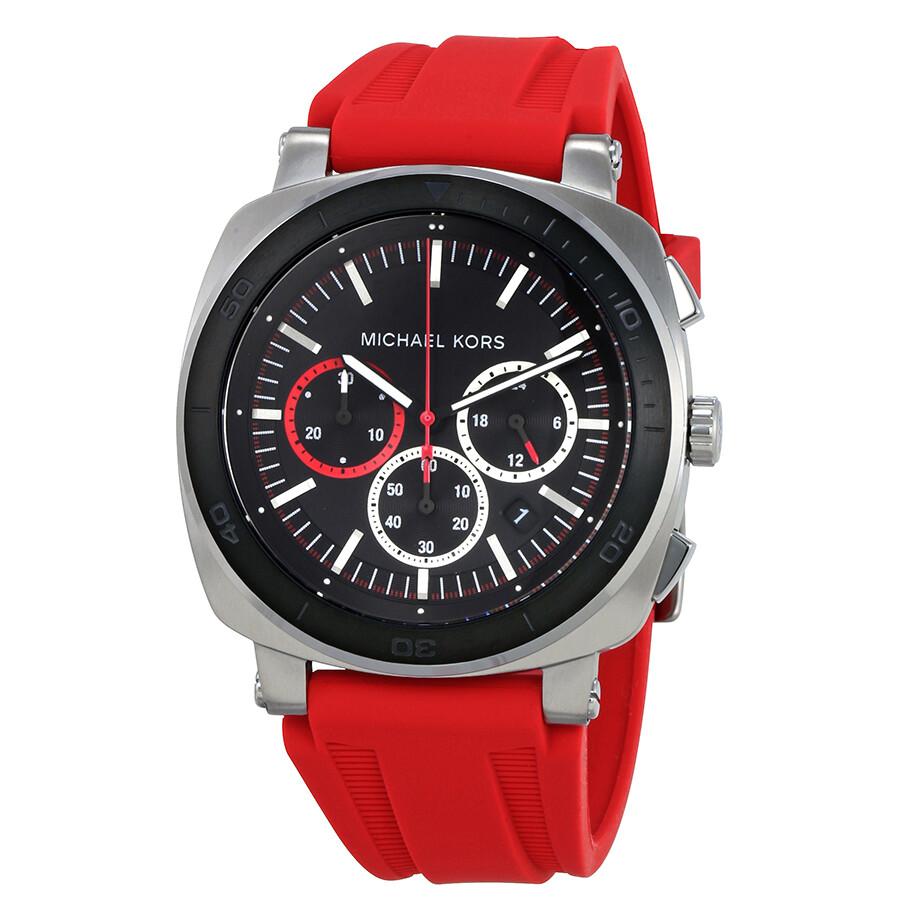 Michael kors bax men 39 s chronograph rubber watch mk8552 michael kors watches jomashop for Rubber watches
