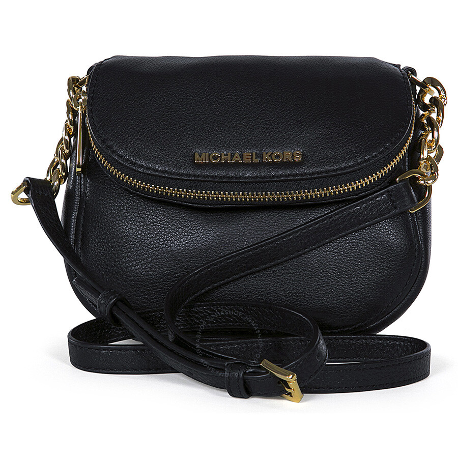 Michael Kors Bedford Flap Black Leather Crossbody Bag