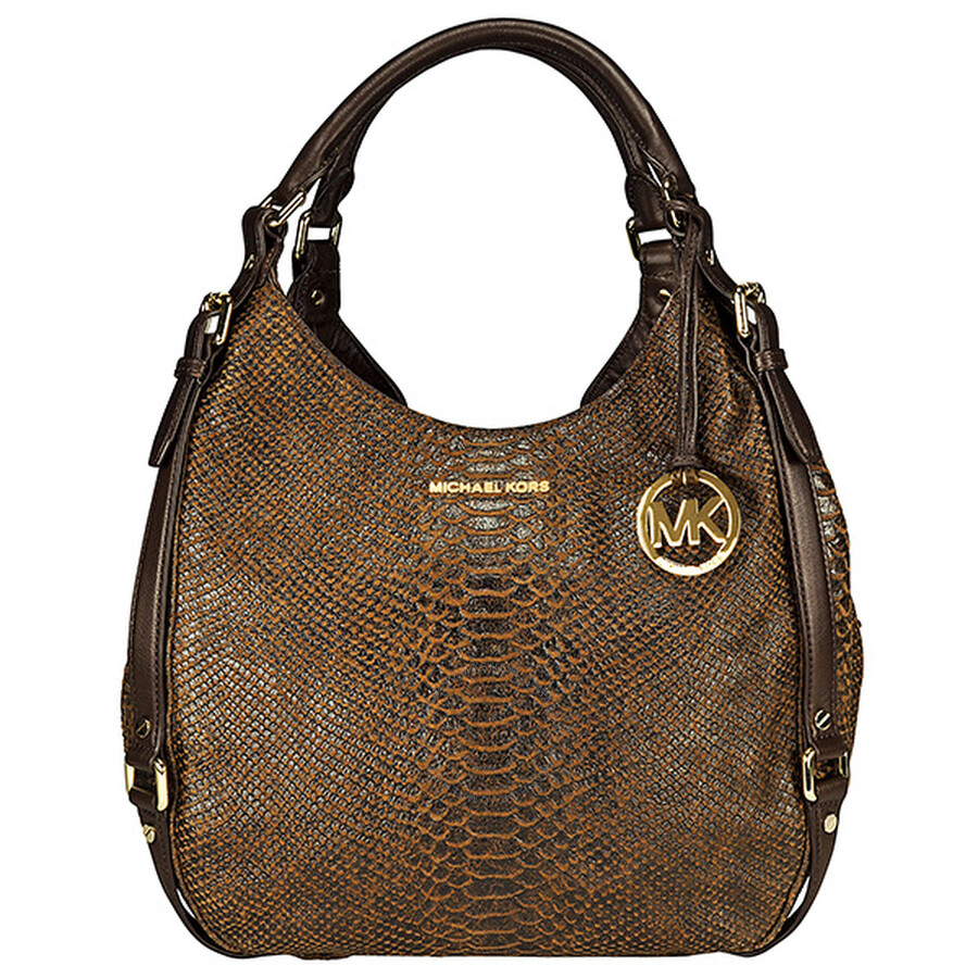 778cb0ddb083d0 Michael Kors Bedford Large Python-Embossed Mocha Leather Tote ...