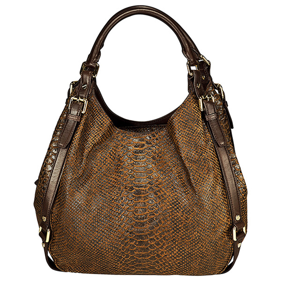 c3bdb7cbefc1b4 Michael Kors Bedford Large Python-Embossed Mocha Leather Tote Item No.  30F2GBFE3D-213