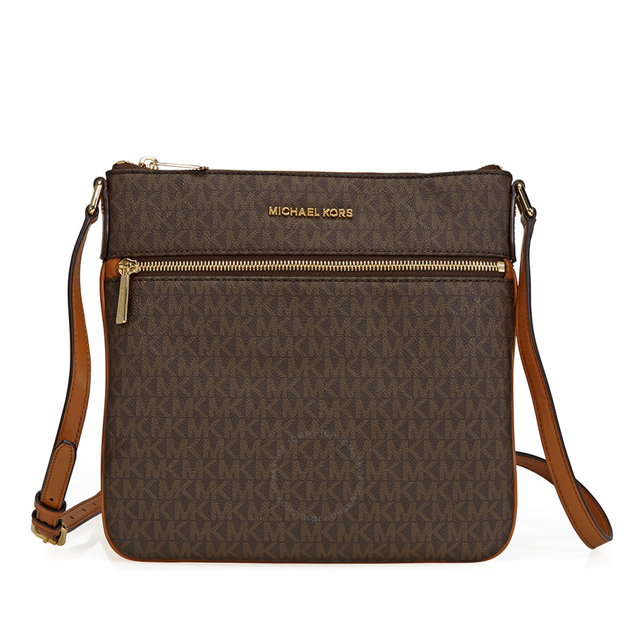 9d0707374758 Michael Kors Bedford Signature Flat Crossbody - Brown Item No.  32S7GBFC2V-200