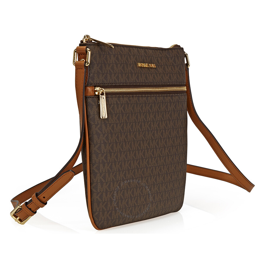 b5b966ea2955a2 Michael Kors Bedford Signature Flat Crossbody - Brown - Bedford ...