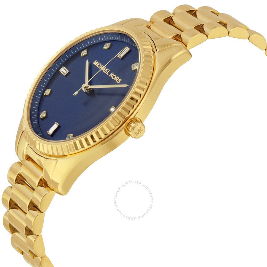 Michael kors black blue dial gold tone ladies watch watch mk3240 michael kors watches jomashop for Gold dial ladies watch