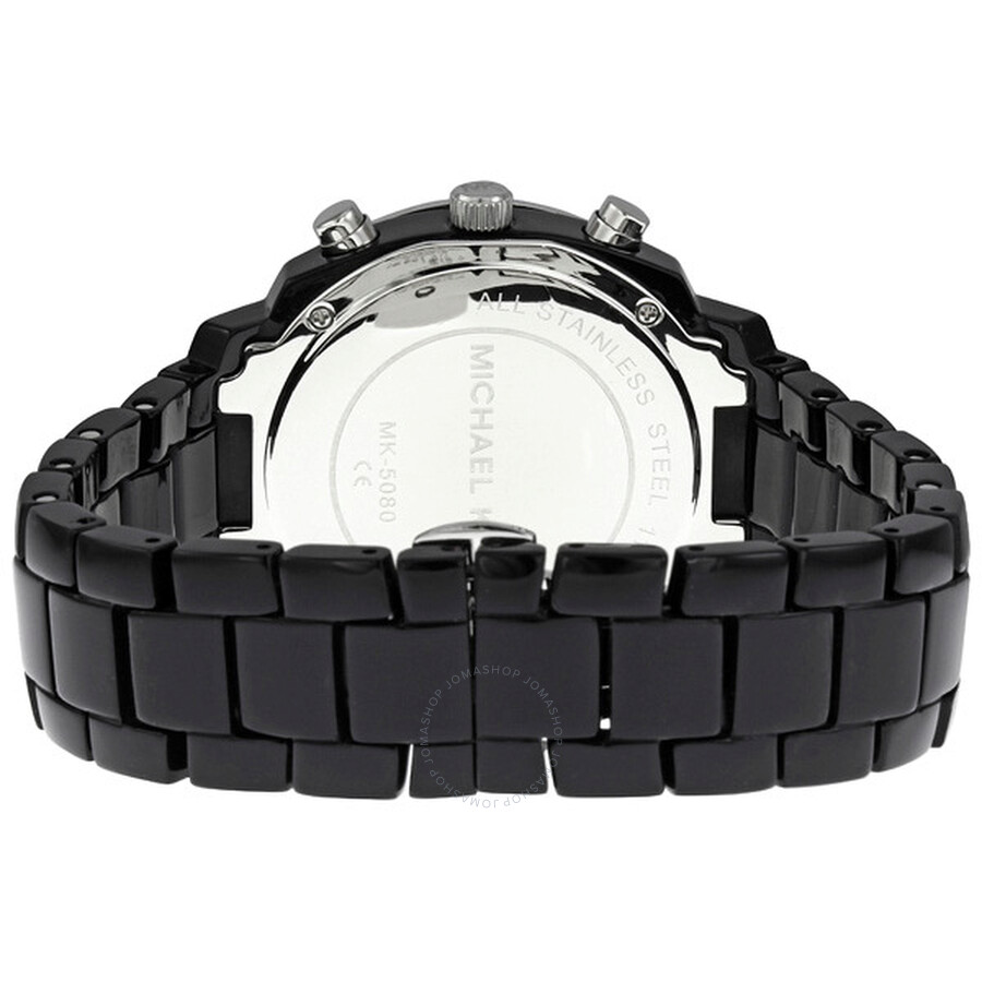Michael Kors Black Mop Dial Acrylic Bracelet With Glitz Watch Mk5080