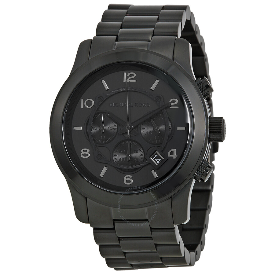 michael kors blacked out runway chronograph men s watch mk8157