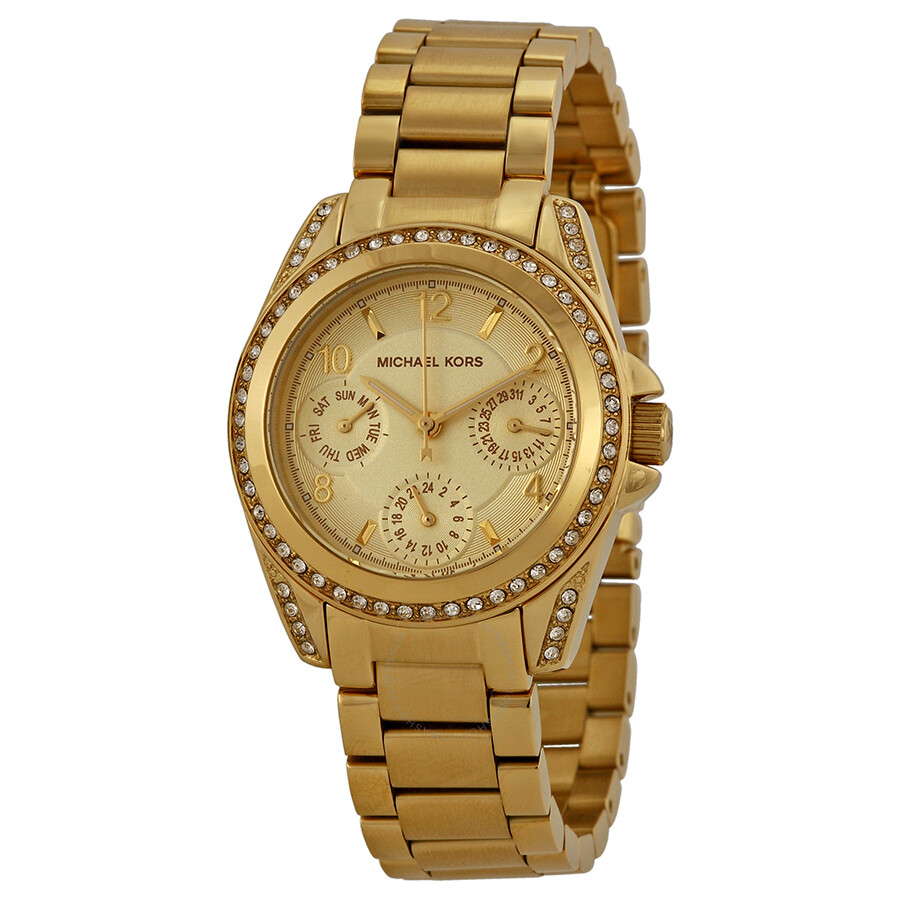 65b8557eecb6 Michael Kors Blair Champagne Dial Gold-tone Stainless Steel Ladies Watch  MK5639 ...