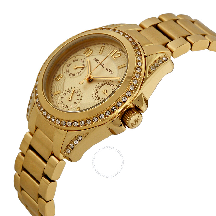 cf6c6fc79691 ... Michael Kors Blair Champagne Dial Gold-tone Stainless Steel Ladies  Watch MK5639 ...