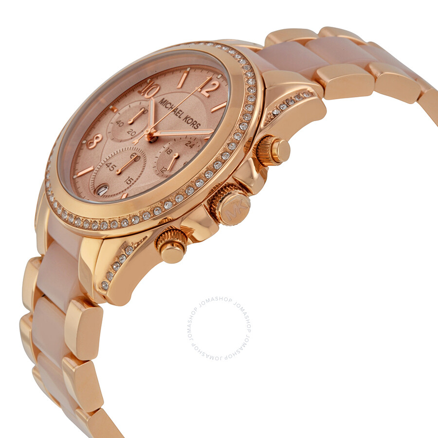 michael kors blair chronograph rose dial rose gold tone and acetate ladies watch mk5943 blair. Black Bedroom Furniture Sets. Home Design Ideas