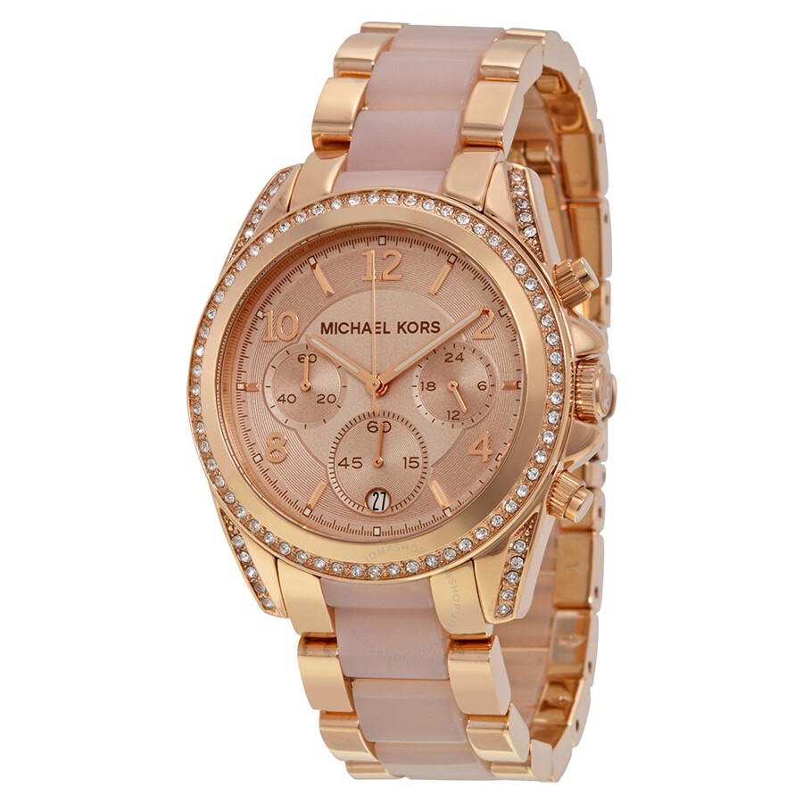 michael kors blair chronograph rose dial rose goldtone