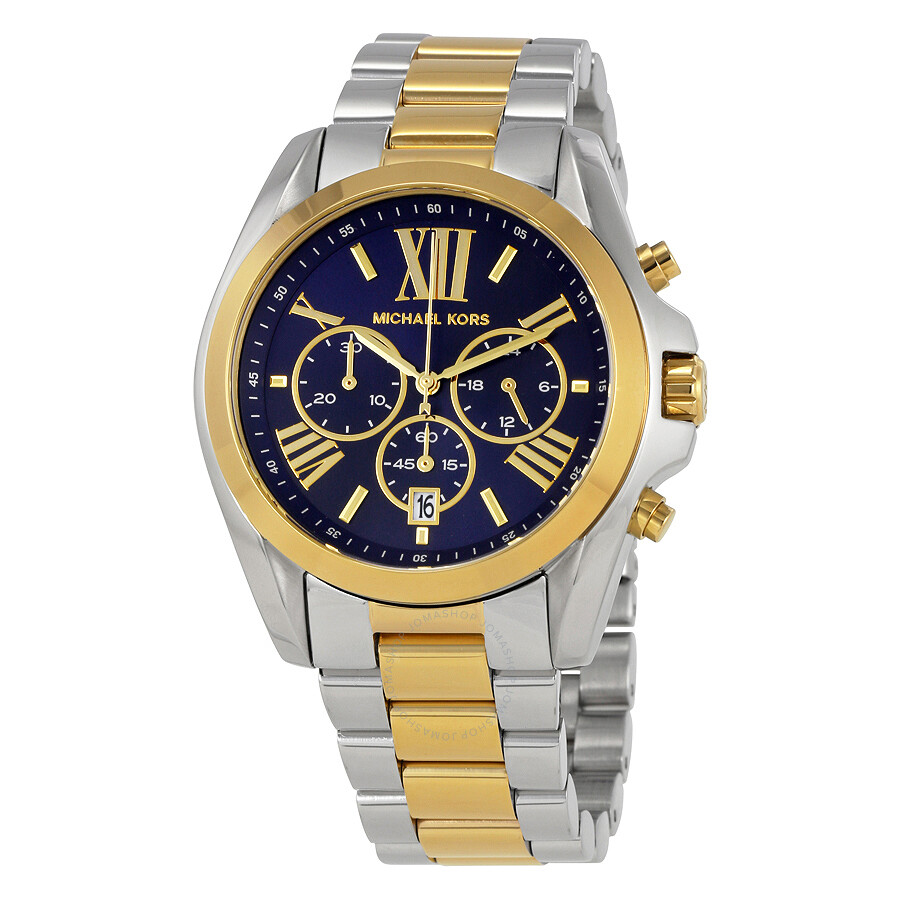 Michael kors bradshaw chronograph blue dial two tone ladies watch mk5976 bradshaw michael for Watches michael kors