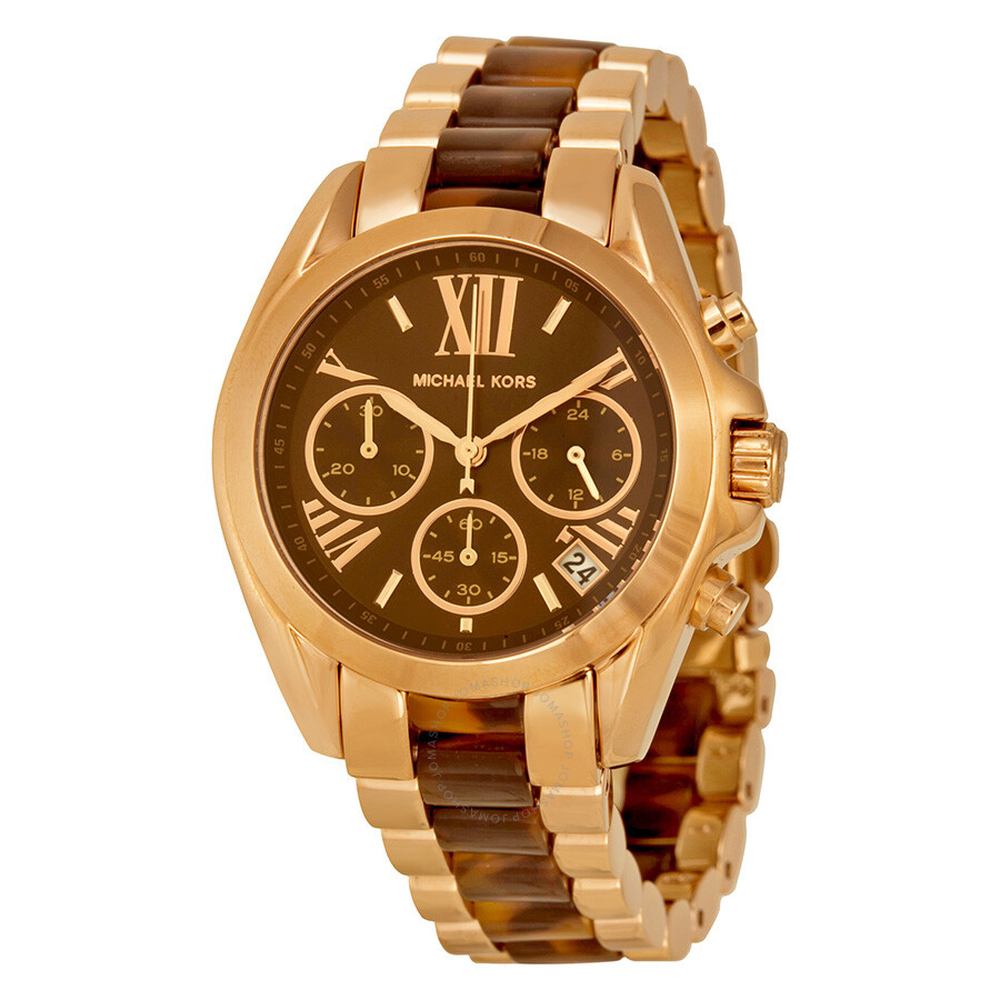 michael kors bradshaw chronograph brown dial rose gold. Black Bedroom Furniture Sets. Home Design Ideas