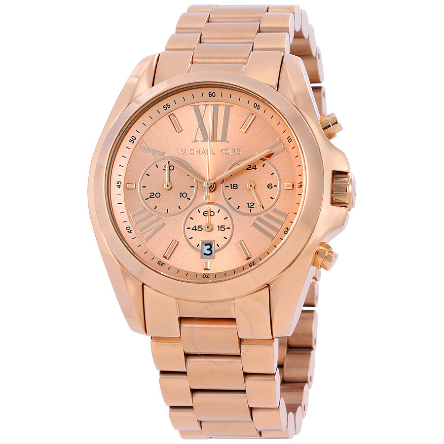 b3569dd42921 Michael Kors Bradshaw Oversize Chronograph Rose Gold-tone Ladies Watch  MK5503 ...