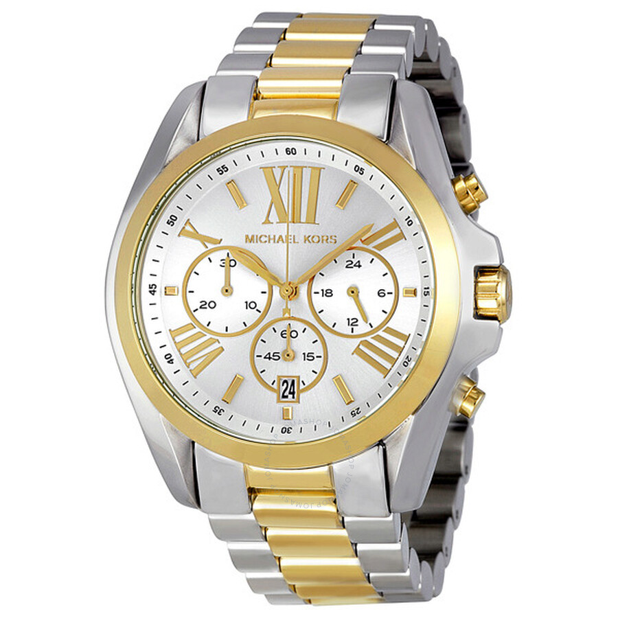 michael kors bradshaw chronograph silver and gold tone