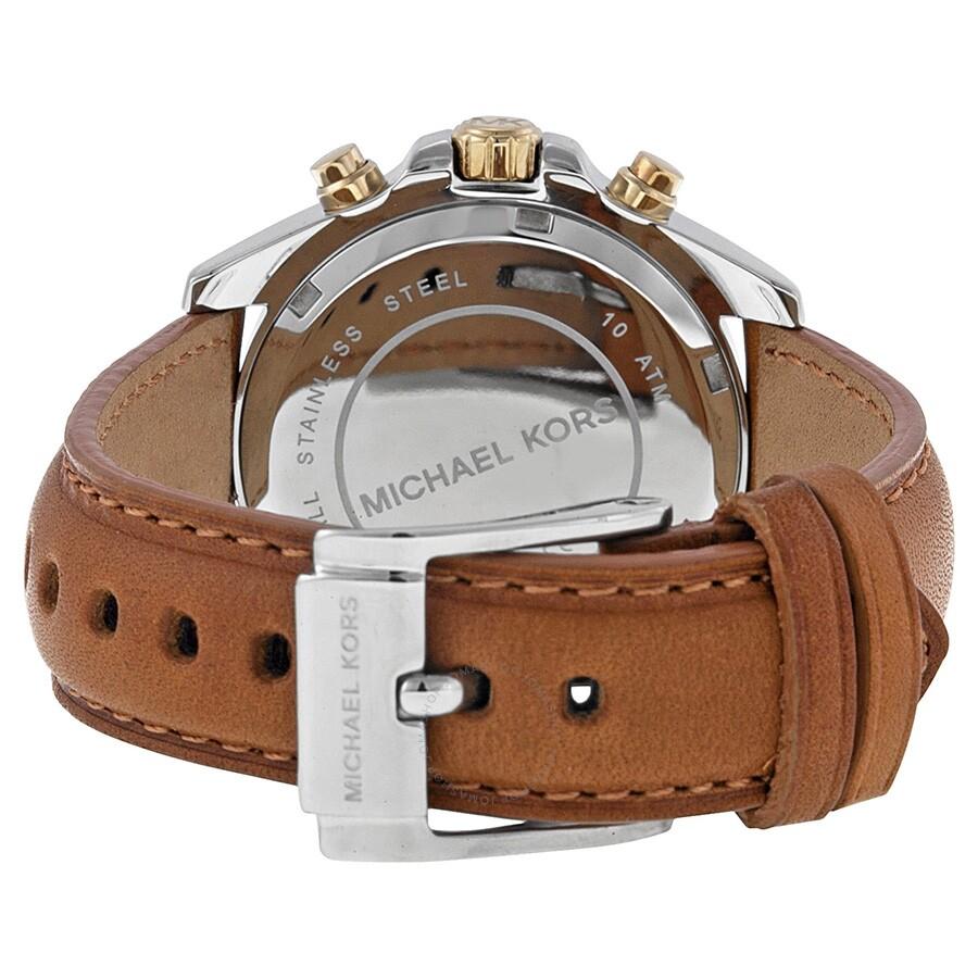 ae4dff62a42c ... Michael Kors Bradshaw Chronograph Silver Dial Tan Leather Ladies Watch  MK2301 ...