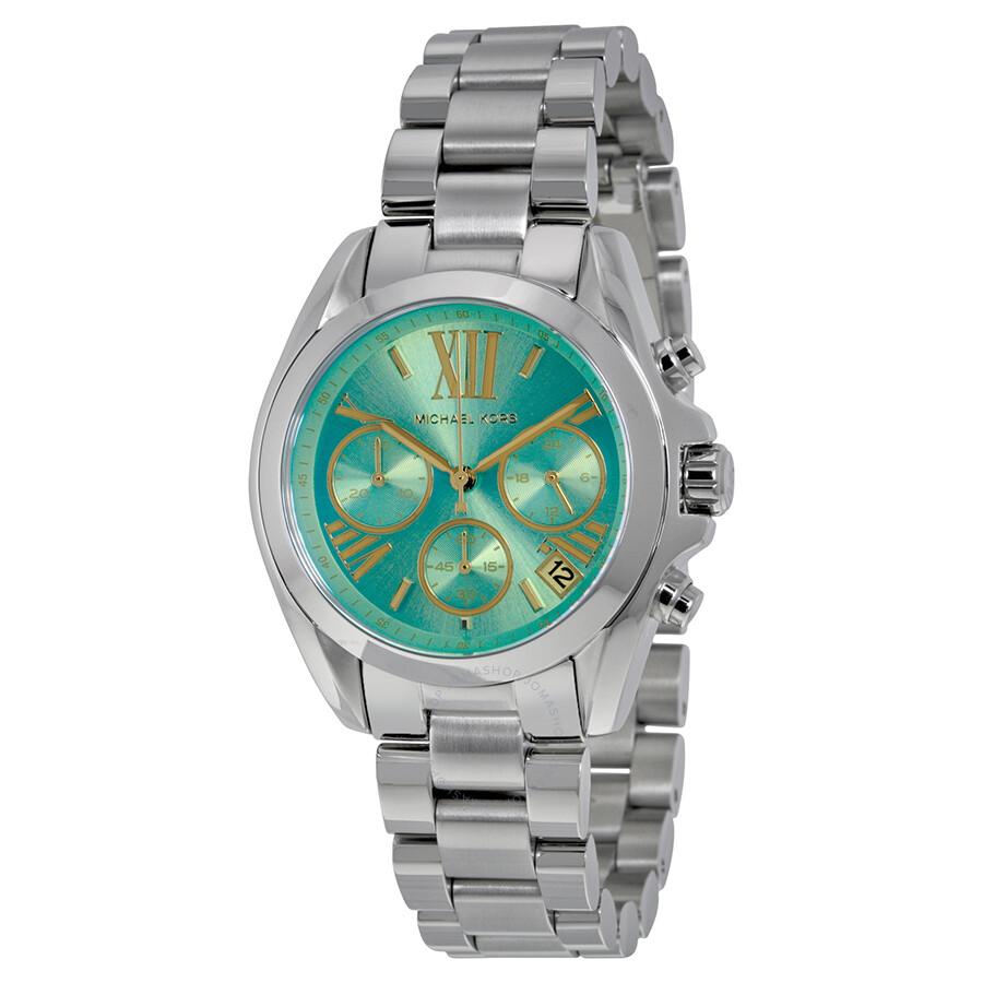 968bbd2275d4 Michael Kors Bradshaw Chronograph Teal Dial Stainless Steel Ladies Watch  MK6197 ...
