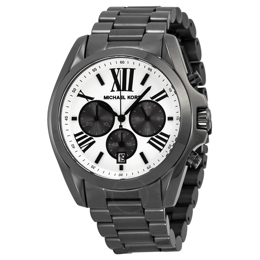 michael kors bradshaw chronograph white dial gunmetal ion plated michael kors bradshaw chronograph white dial gunmetal ion plated men s watch mk5952