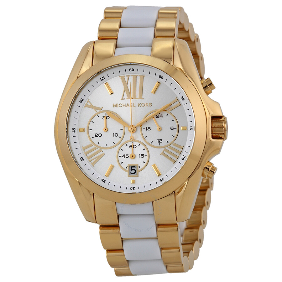 michael kors bradshaw chronograph white two tone