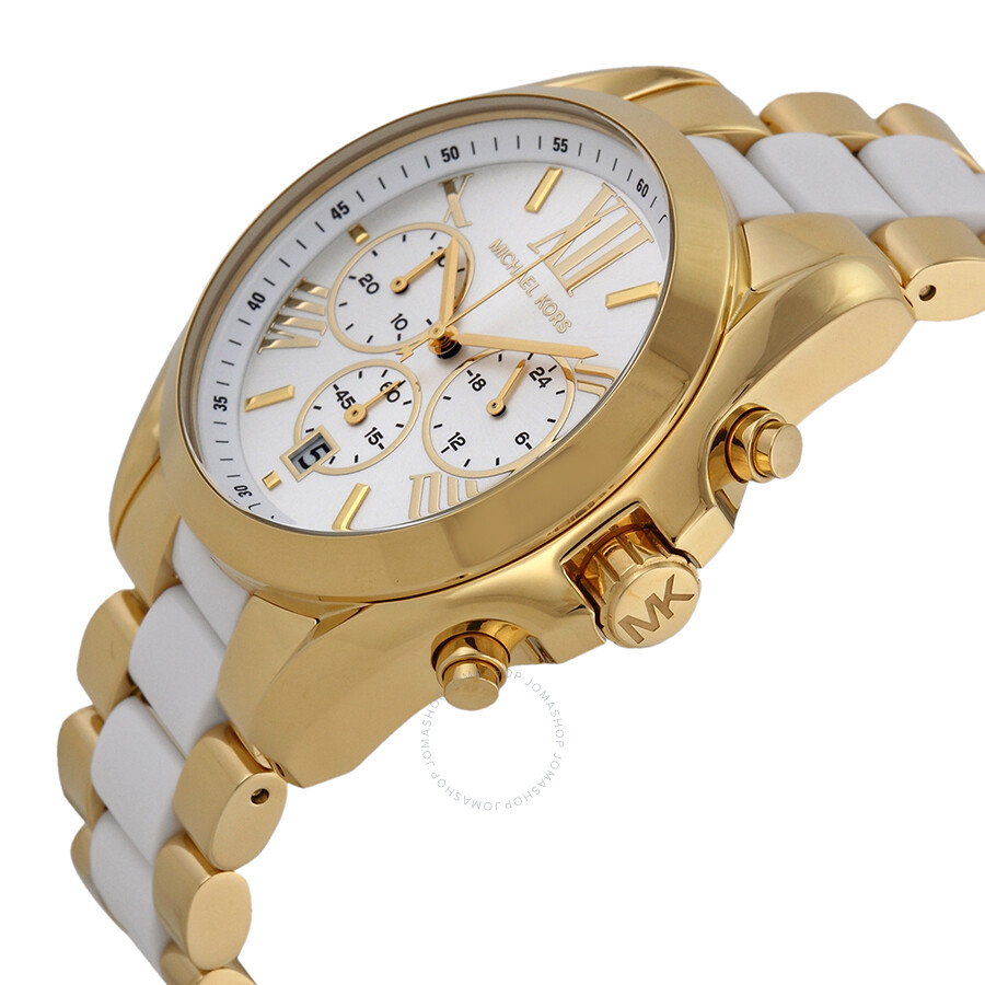 c8808cf658dd ... Michael Kors Bradshaw Chronograph White Dial Two-tone Ladies Watch  MK5743 ...
