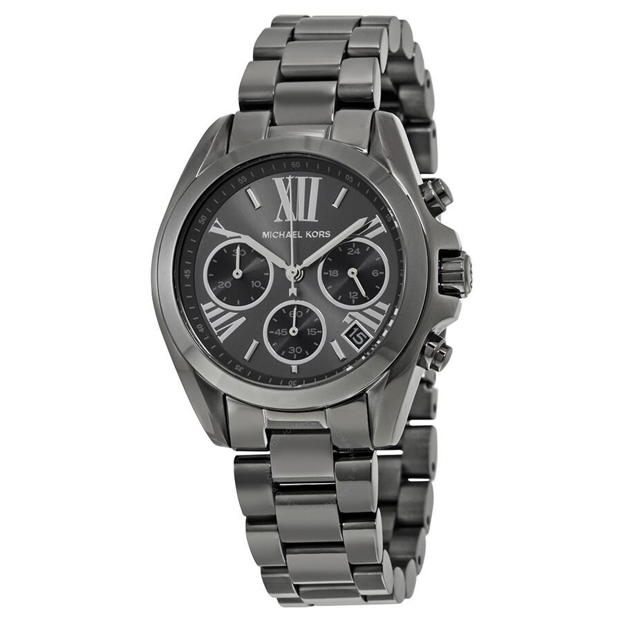 b1905cf788fe Michael Kors Bradshaw Grey Dial Chronograph Gunmetal Tone Ladies Watch  MK6249 ...