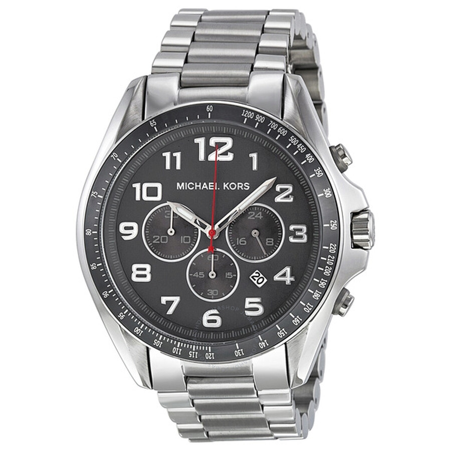 439fce78a337 Michael Kors Bradshaw Grey Dial Chronograph Stainless Steel Men s Watch  MK8245 ...