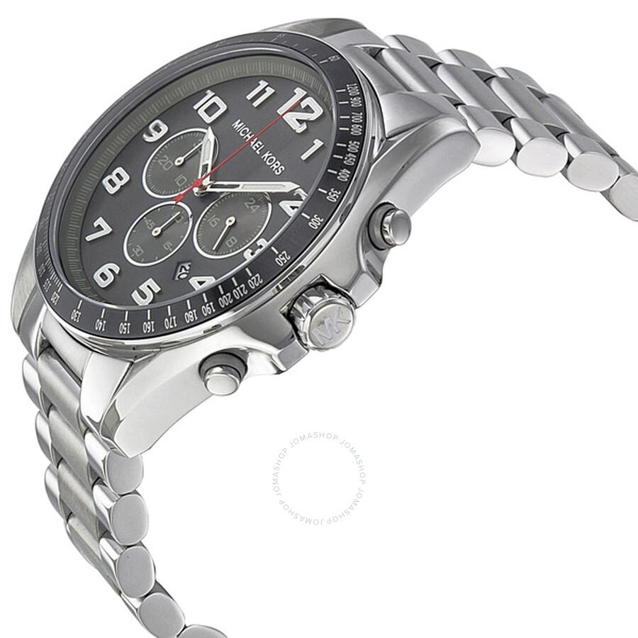 7ce7a6440dfe ... Michael Kors Bradshaw Grey Dial Chronograph Stainless Steel Men s Watch  MK8245 ...