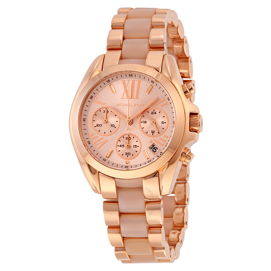 Michael Kors Bradshaw Mini Chronograph Rose Dial Rose Gold ...