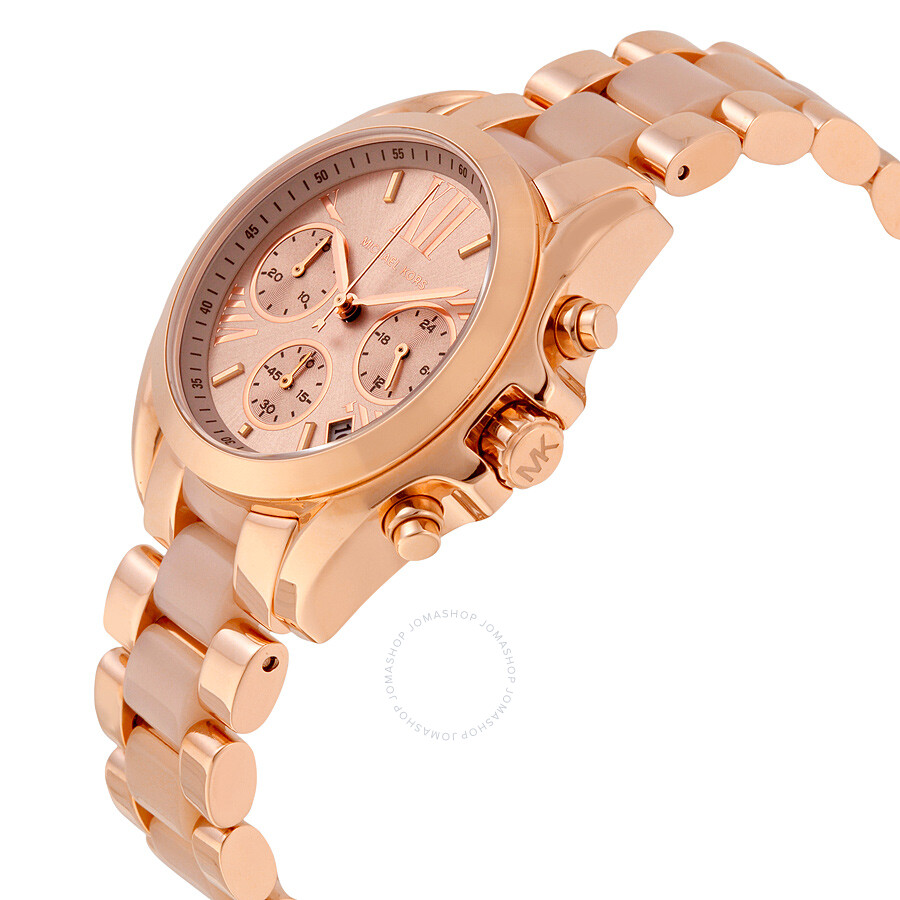 6a79abe7b0a ... Michael Kors Bradshaw Mini Chronograph Rose Dial Rose Gold-tone Ladies Watch  MK6066 ...