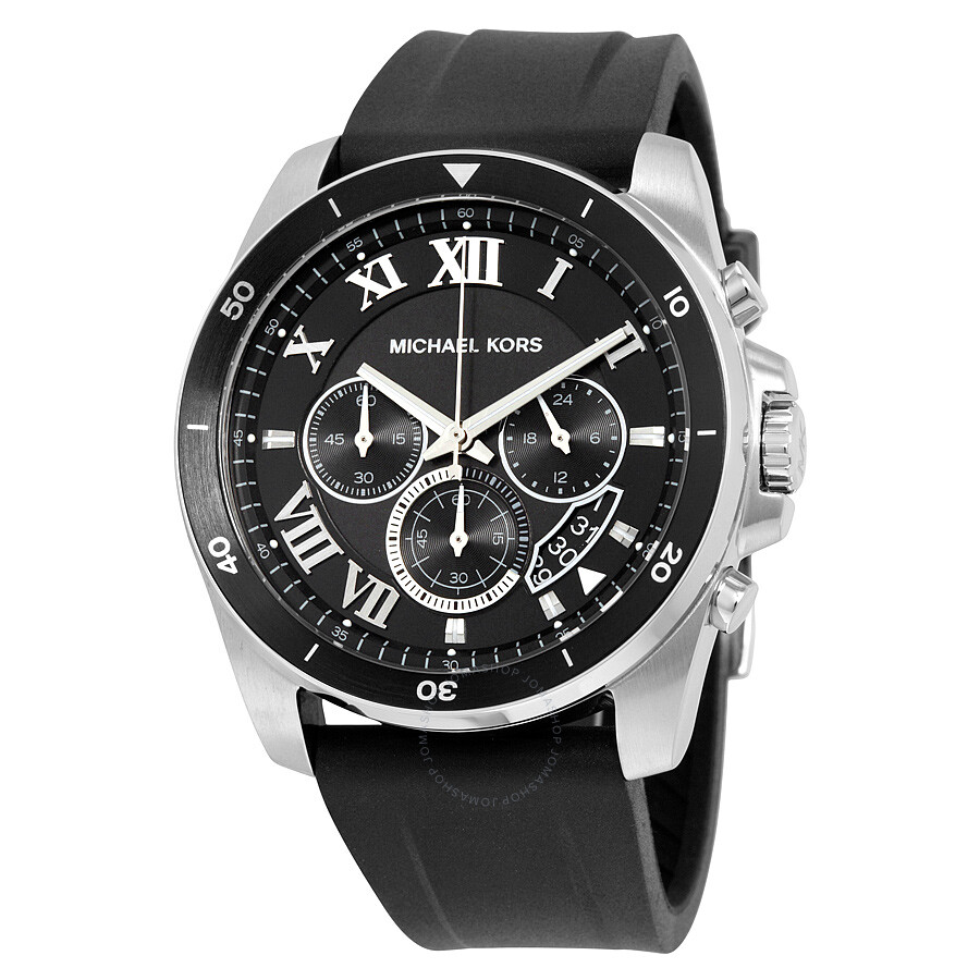 51d0a6de9217 Michael Kors Brecken Chronograph Black Dial Black Rubber Men s Watch MK8435  ...