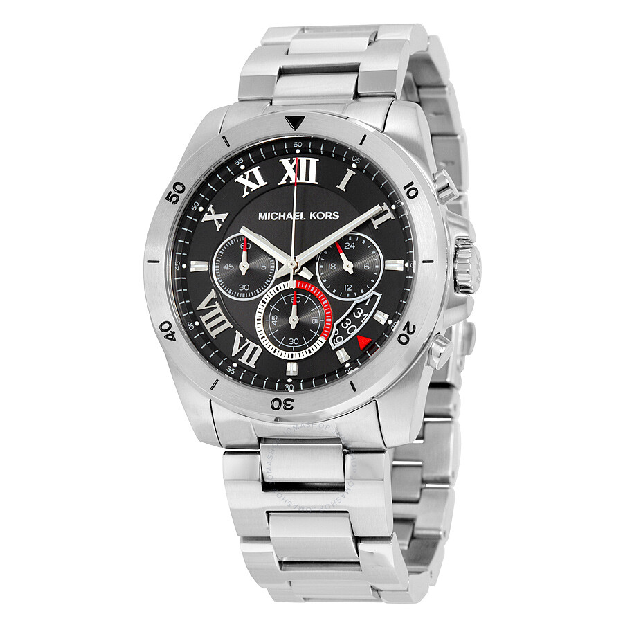 4849347da7f9 Michael Kors Brecken Chronograph Black Dial Stainless Steel Men s Watch  MK8438 ...