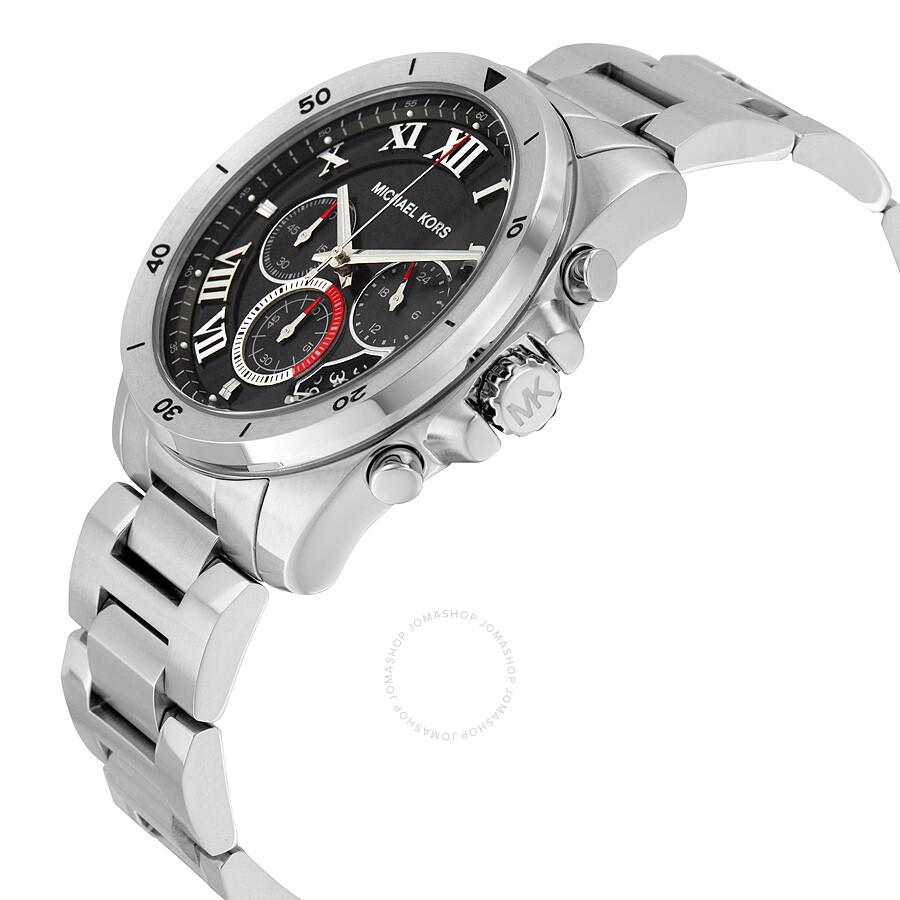 3982847909ec ... Michael Kors Brecken Chronograph Black Dial Stainless Steel Men s Watch  MK8438 ...