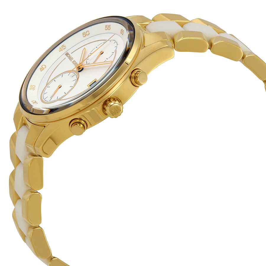 2ce1dc87e3a5 ... Michael Kors Briar White Dial Ladies Gold Tone Multifunction Watch  MK6466 ...