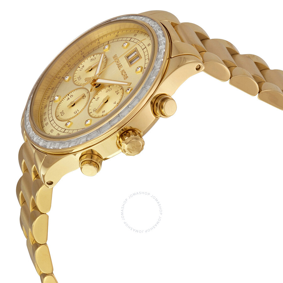 7bf39bbbf431 ... Michael Kors Brinkley Chronograph Gold Dial Gold-tone Ladies Watch  MK6187 ...