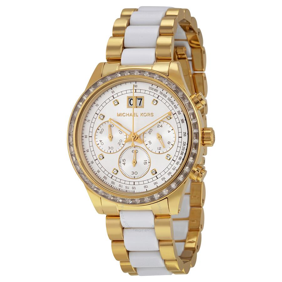 michael kors brinkley chronograph white sunray gold
