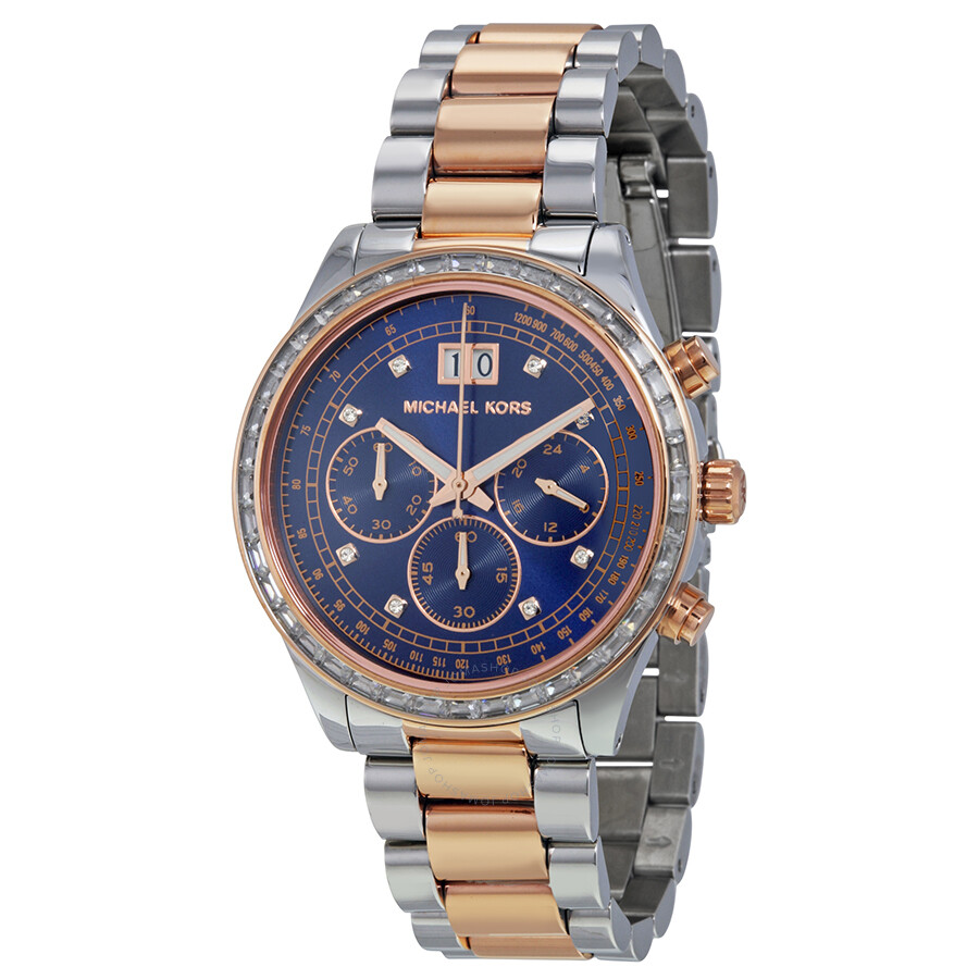 c94f35b061e1 Michael Kors Brinkley Navy Dial Two-tone Ladies Watch MK6205 ...