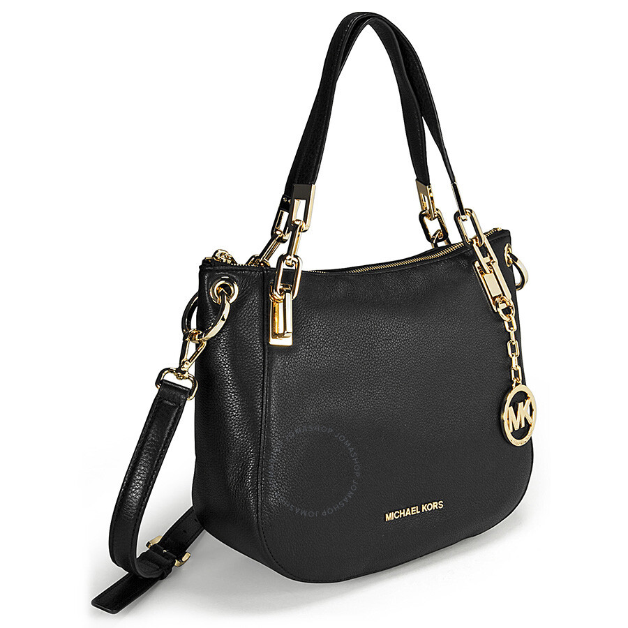 65fc4a873806 Michael Kors Brooke Medium Black Leather Shoulder Tote - Michael ...