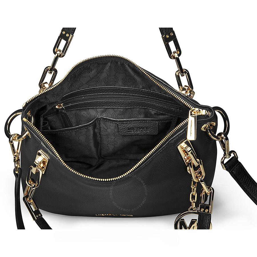 Michael Kors Brooke Medium Black Leather Shoulder Tote