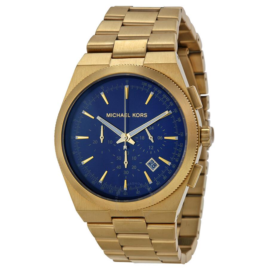 a93a56b1fc5 Michael Kors Brooks Chronograph Blue Dial Gold-tone Men s Watch MK8338 ...